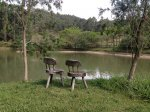 dwa krzesełka nad jeziorem